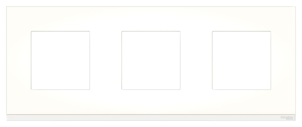 Рамка 3-ая (тройная), Стекло Матовое/Белый, серия Unica Pure, Schneider Electric