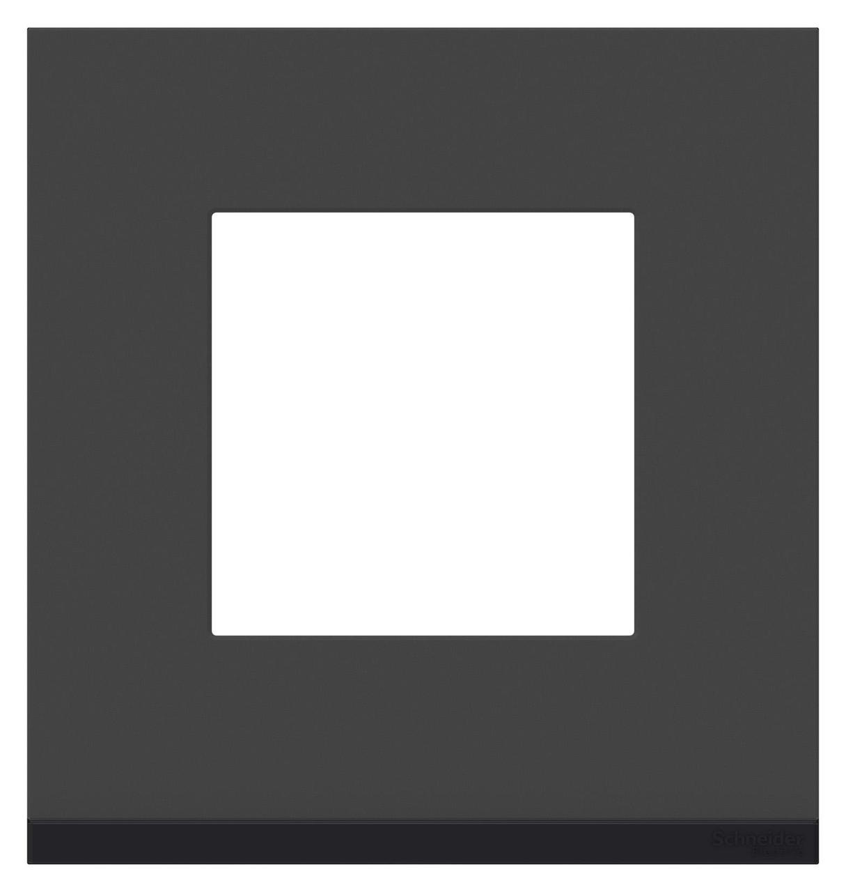 Рамка 1-ая (одинарная), Стекло Черное/Антрацит, серия Unica Pure, Schneider Electric