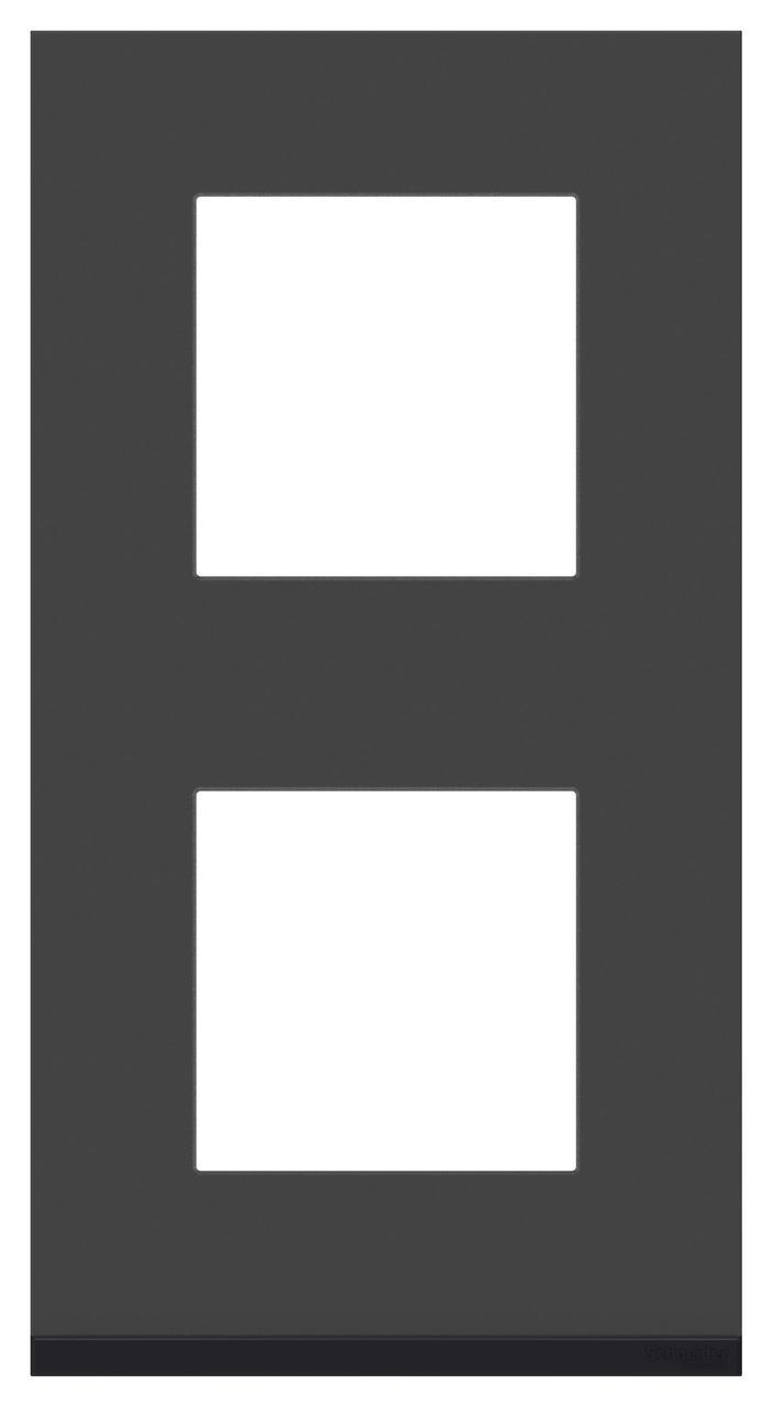 Рамка 2-ая (двойная) вертикальная, Стекло Черное/Антрацит, серия Unica Pure, Schneider Electric