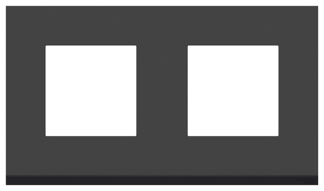 Рамка 2-ая (двойная), Стекло Черное/Антрацит, серия Unica Pure, Schneider Electric
