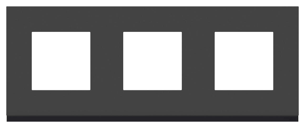 Рамка 3-ая (тройная), Стекло Черное/Антрацит, серия Unica Pure, Schneider Electric