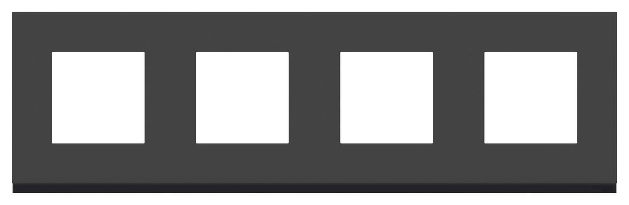 Рамка 4-ая (четверная), Стекло Черное/Антрацит, серия Unica Pure, Schneider Electric
