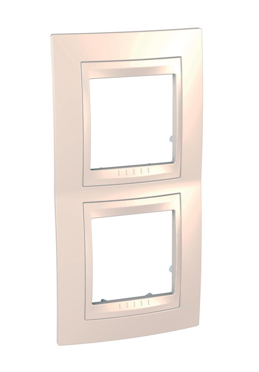 Рамка 2-ая (двойная) вертикальная, Бежевый, серия Unica, Schneider Electric