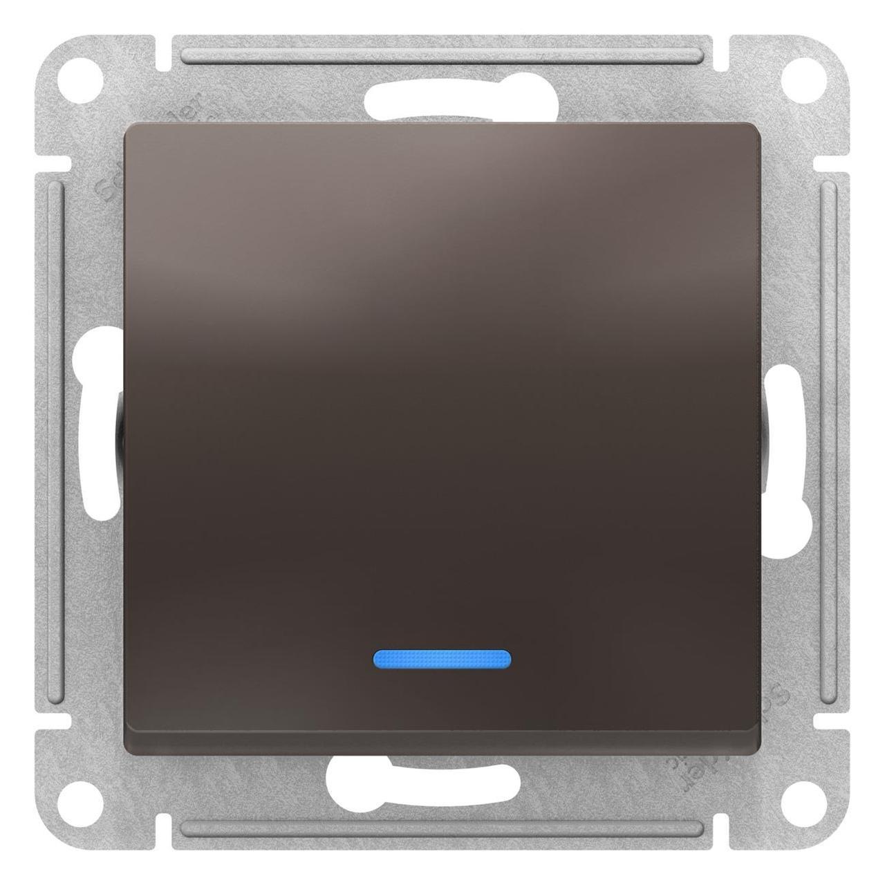 Выключатель 1-клавишный ,проходной с индикацией (с двух мест) , Мокко, серия Atlas Design, Schneider Electric