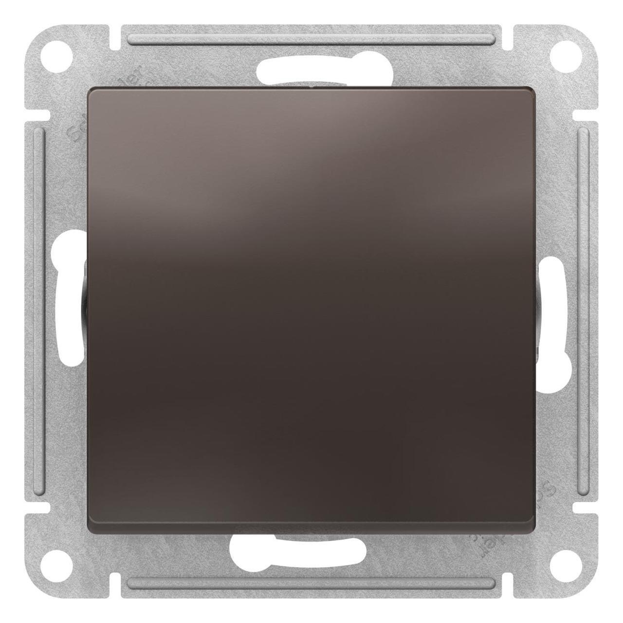 Выключатель 1-клавишный, перекрестный (с трех мест) , Мокко, серия Atlas Design, Schneider Electric