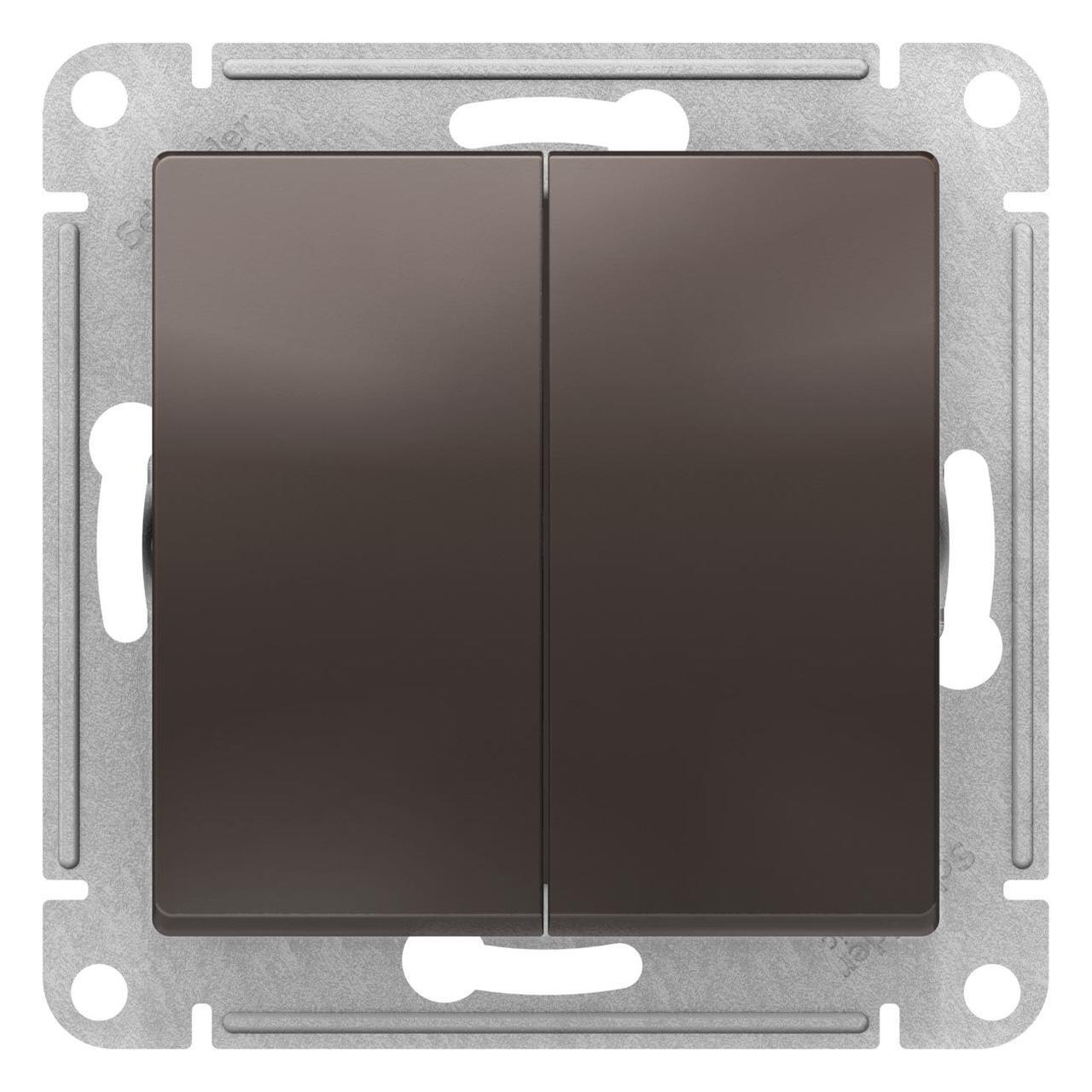 Выключатель 2-клавишный проходной (с двух мест) , Мокко, серия Atlas Design, Schneider Electric