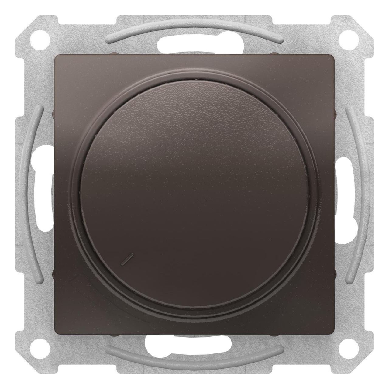 Диммер поворотно-нажимной , 600Вт для ламп накаливания , Мокко, серия Atlas Design, Schneider Electric