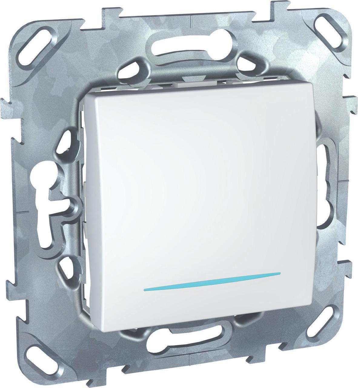 Выключатель 1-клавишный, перекрестный с подсветкой (с трех мест) , Белый, серия Unica, Schneider Electric
