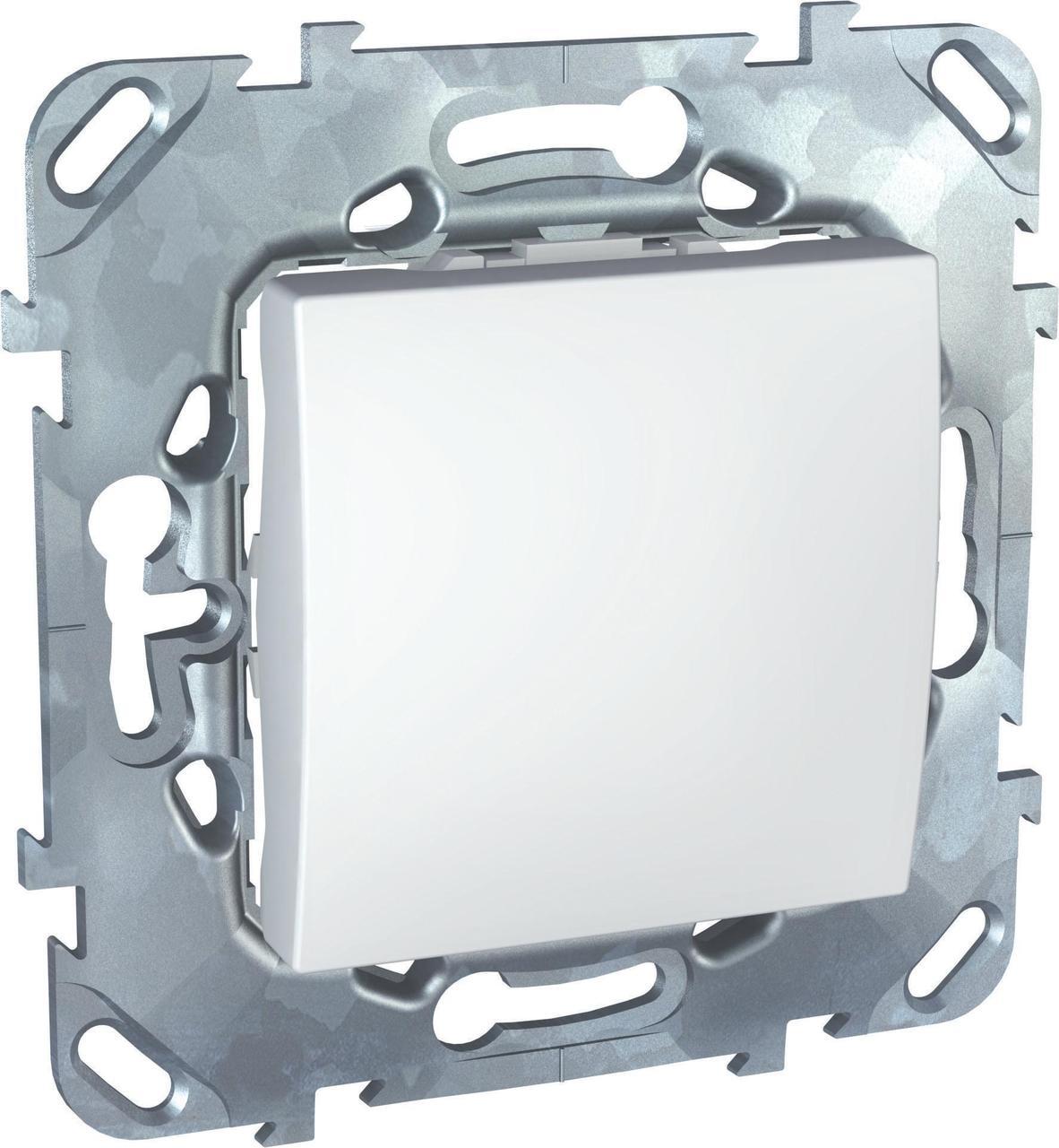 Выключатель 1-клавишный; кнопочный , Белый, серия Unica, Schneider Electric