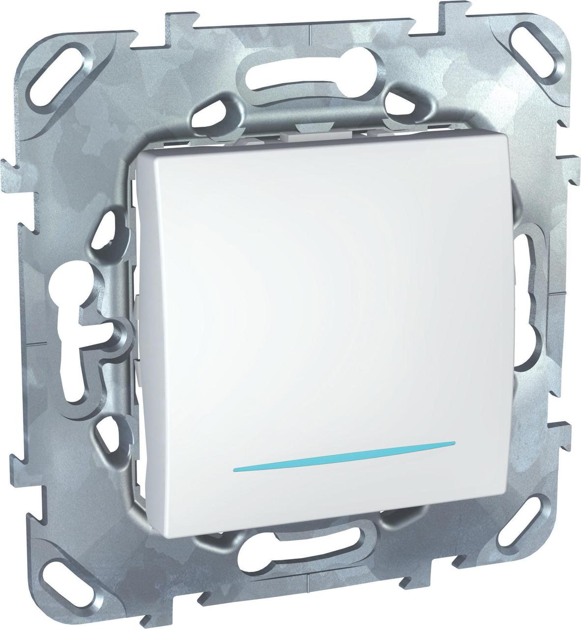 Выключатель 1-клавишный; кнопочный с подсветкой , Белый, серия Unica, Schneider Electric