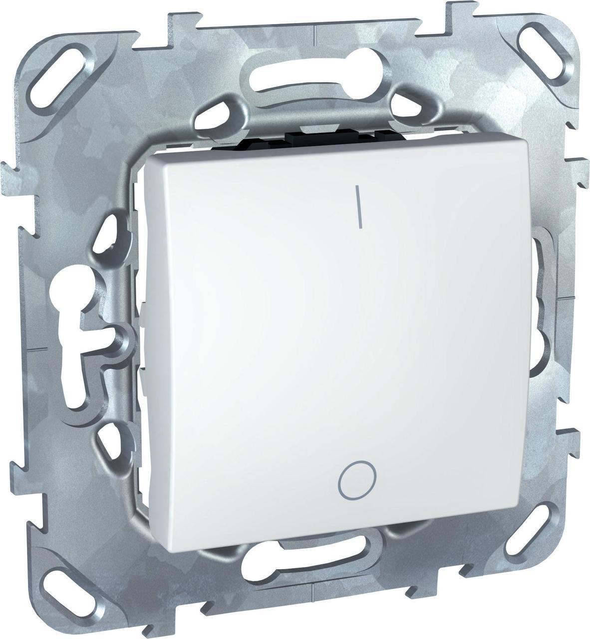 Выключатель 2-полюсный 1-клавишный 16А , Белый, серия Unica, Schneider Electric