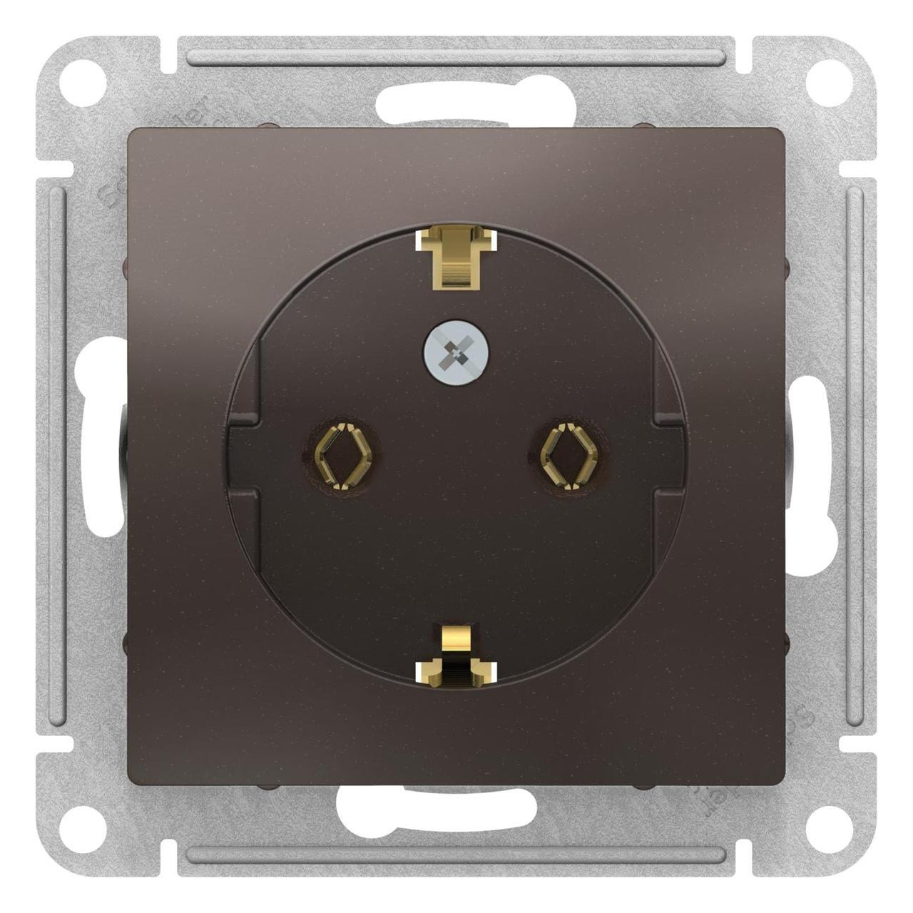 Розетка 1-ая электрическая , с заземлением (винтовой зажим) , Мокко, серия Atlas Design, Schneider Electric