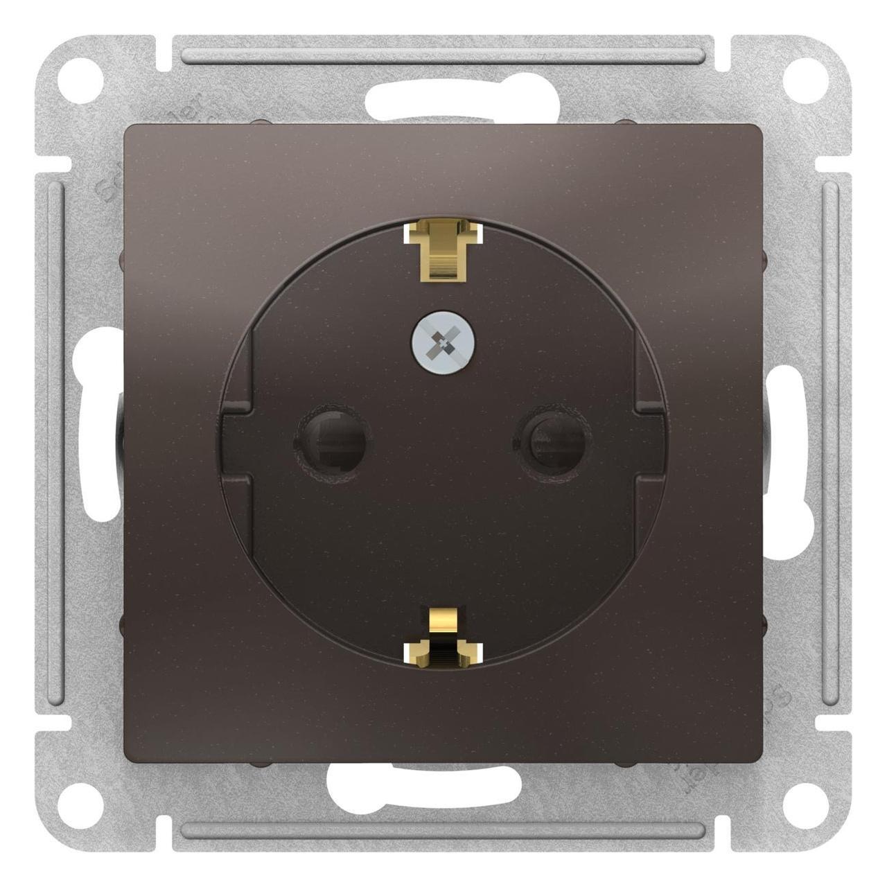 Розетка 1-ая электрическая , с заземлением и защитными шторками (винтовой зажим) , Мокко, серия Atlas Design,