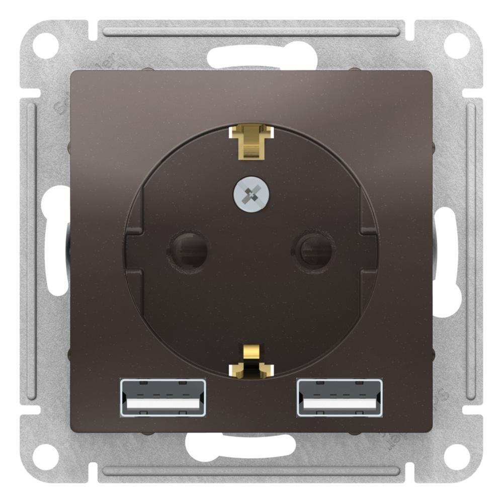 Розетка 1-ая электрическая , с заземлением, c USB , Мокко, серия Atlas Design, Schneider Electric