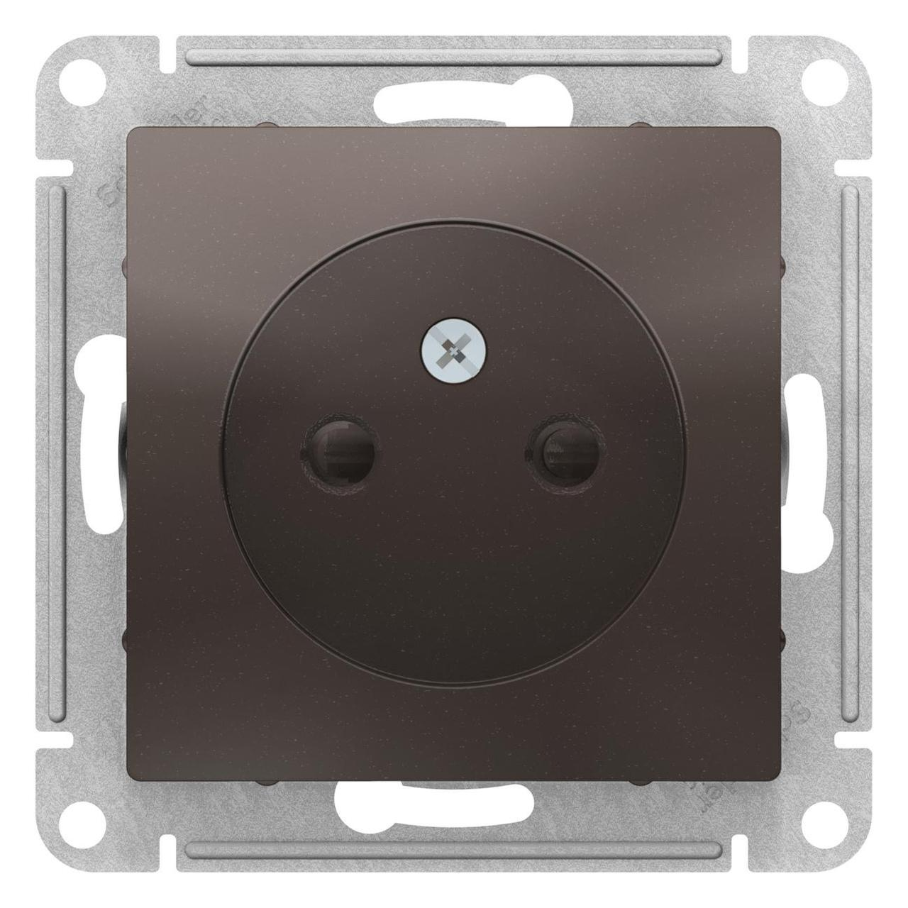Розетка 1-ая электрическая без заземления с защитными шторками , Мокко, серия Atlas Design, Schneider Electric