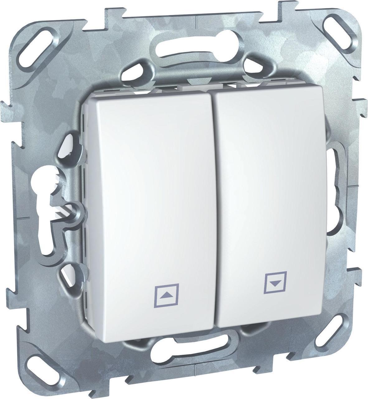 Выключатель для жалюзи (рольставней) кнопочный , Белый, серия Unica, Schneider Electric