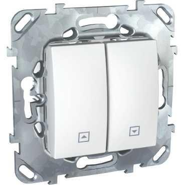 Выключатель для жалюзи (рольставней) с фиксацией , Белый, серия Unica, Schneider Electric