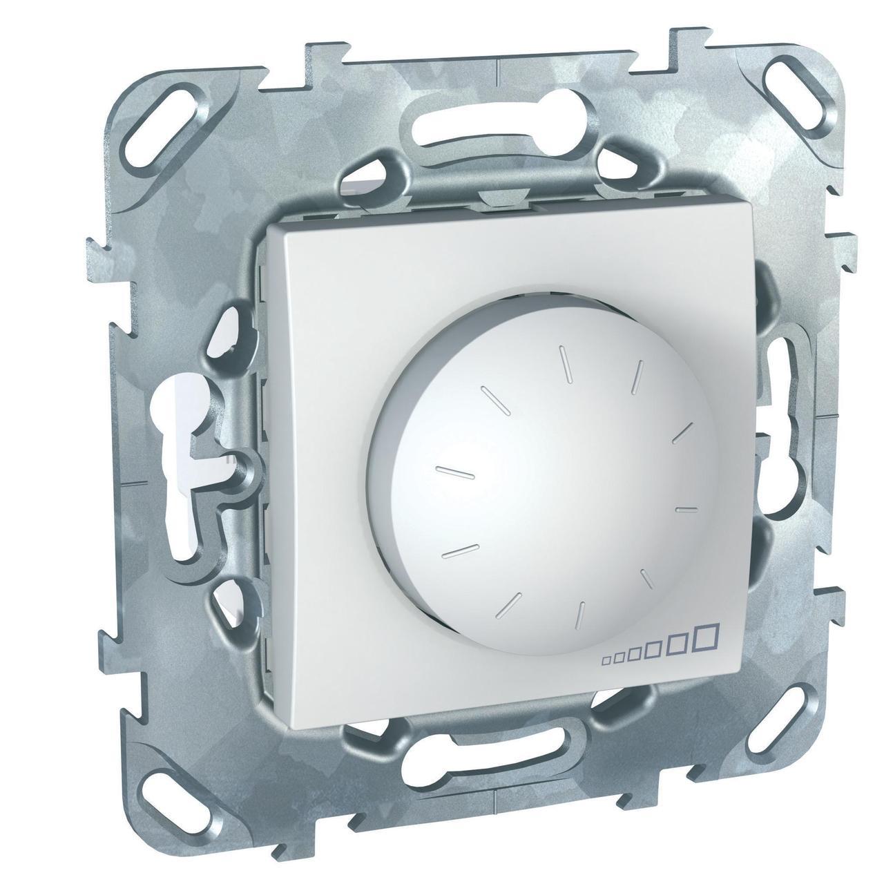 Диммер поворотно-нажимной , 400Вт для ламп накаливания , Белый, серия Unica, Schneider Electric