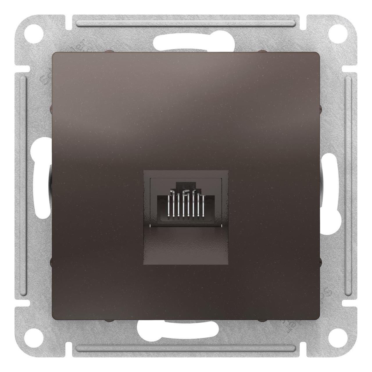 Розетка компьютерная 1-ая кат.5е, RJ-45 (интернет) , Мокко, серия Atlas Design, Schneider Electric