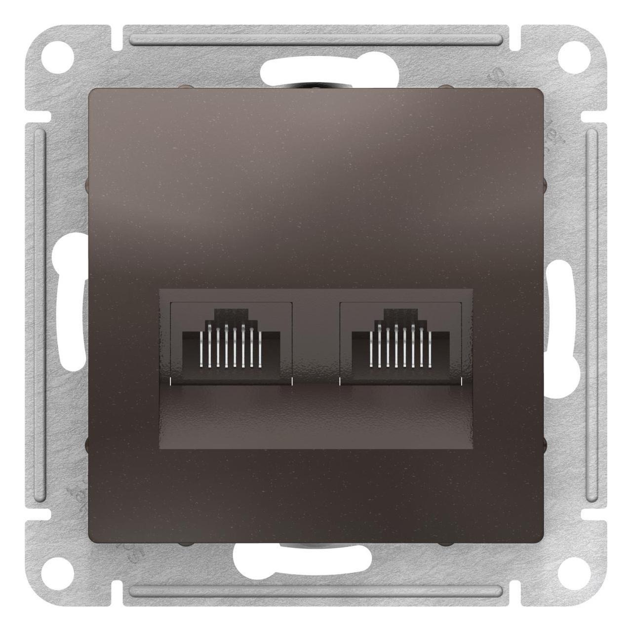 Розетка компьютерная 2-ая кат.5е, RJ-45 (интернет) , Мокко, серия Atlas Design, Schneider Electric