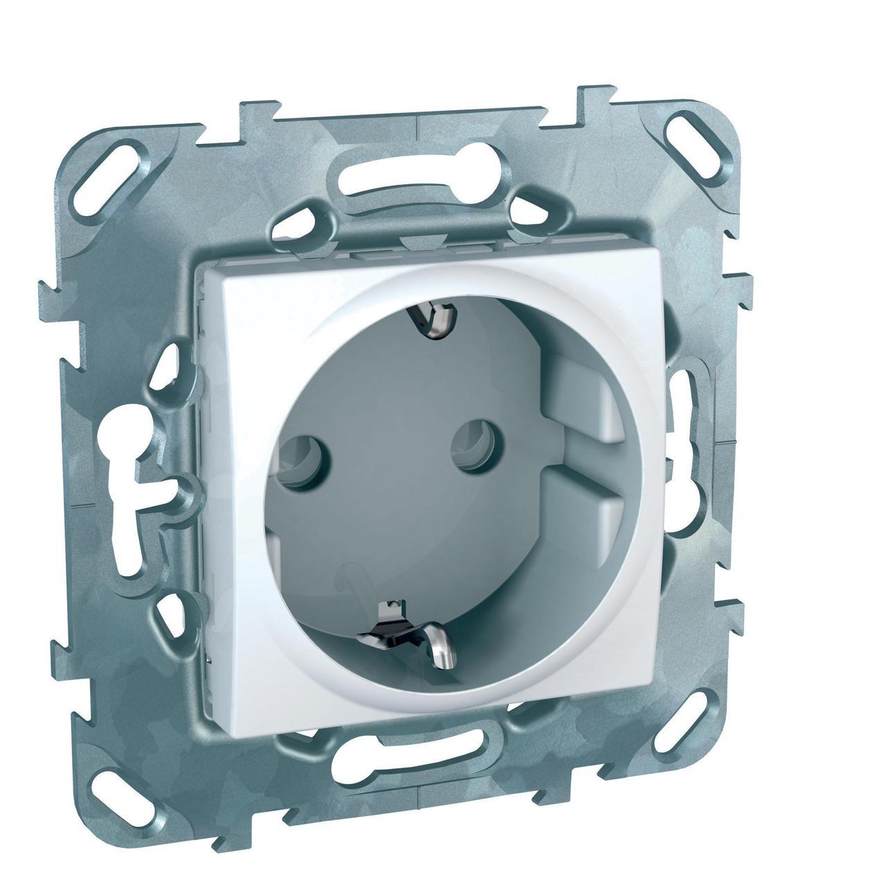 Розетка 1-ая электрическая , с заземлением и защитными шторками (винтовой зажим) , Белый, серия Unica,