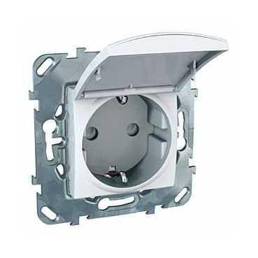 Розетка 1-ая электрическая , с заземлением и крышкой , Белый, серия Unica, Schneider Electric