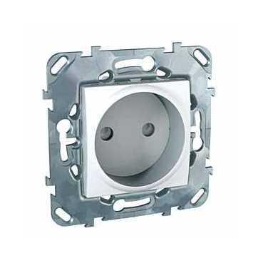 Розетка 1-ая электрическая без заземления с защитными шторками , Белый, серия Unica, Schneider Electric