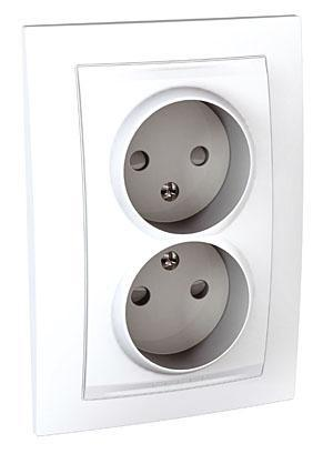 Розетка 2-ая электрическая без заземления с защитными шторками (в сборе) , Белый, серия Unica, Schneider