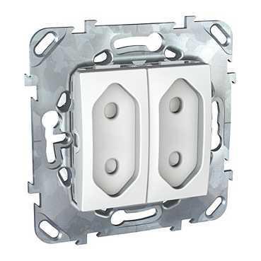 Розетка 2-ая электрическая без заземления с защитными шторками (для узких вилок) , Белый, серия Unica,
