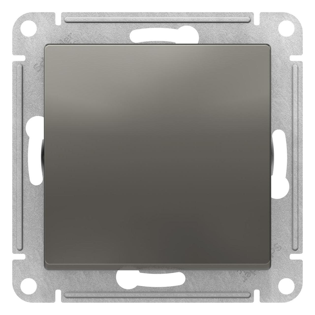 Выключатель 1-клавишный , Сталь, серия Atlas Design, Schneider Electric