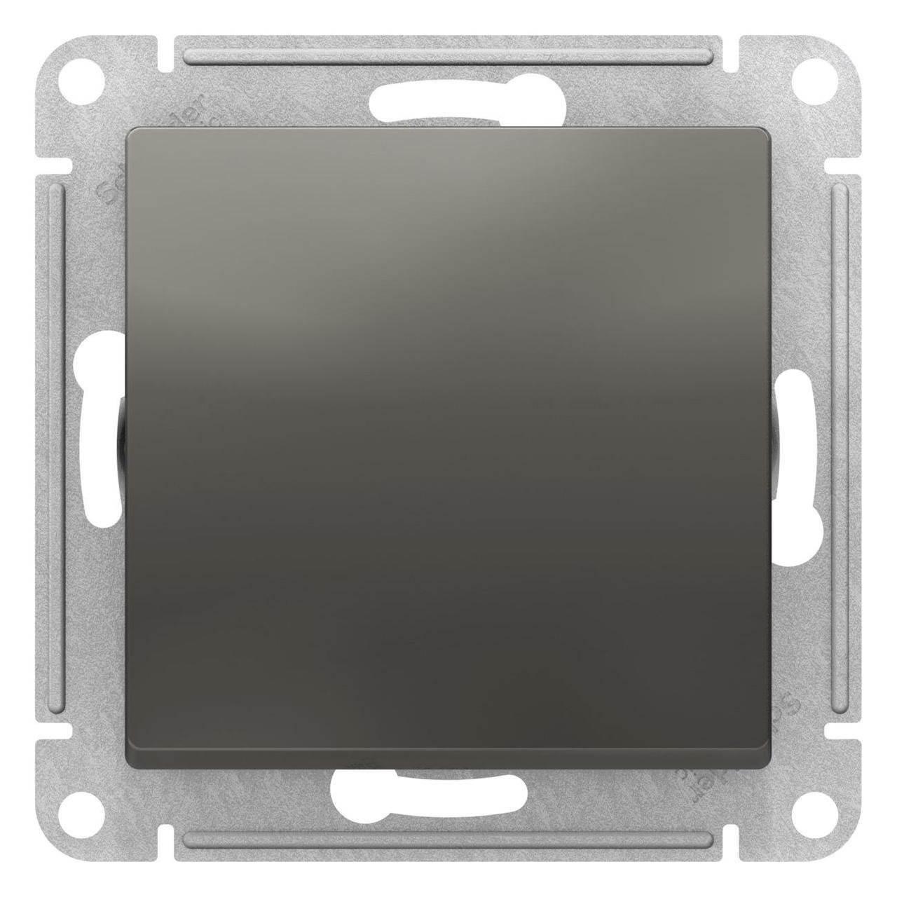 Выключатель 1-клавишный ,проходной (с двух мест) , Сталь, серия Atlas Design, Schneider Electric