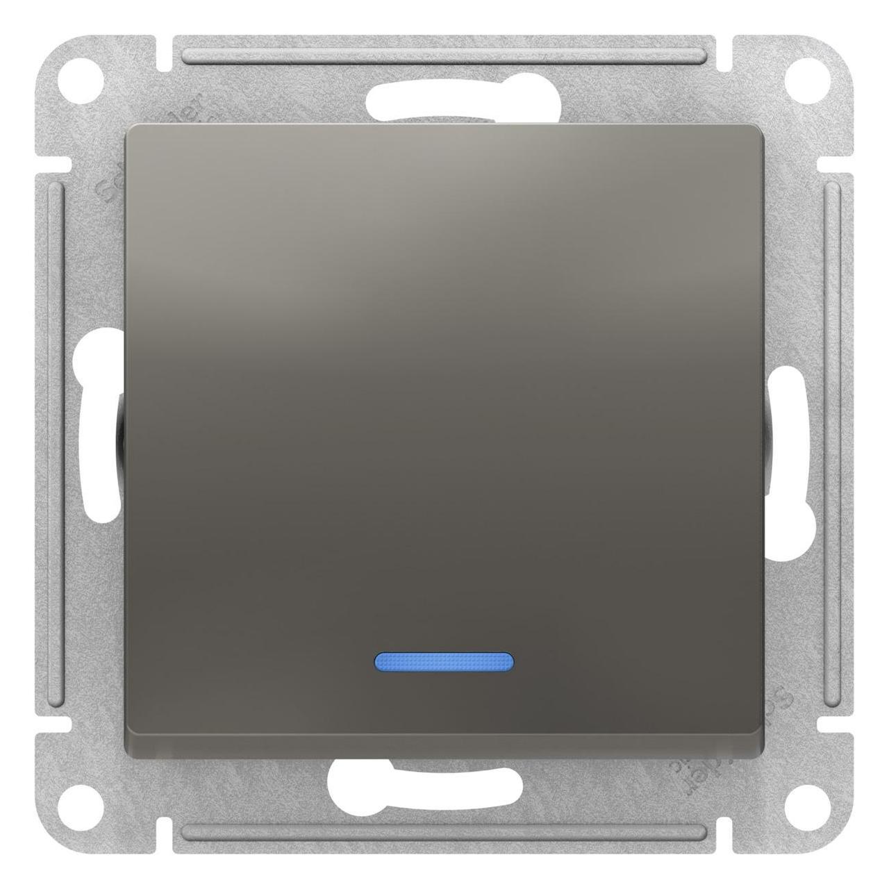 Выключатель 1-клавишный ,проходной с индикацией (с двух мест) , Сталь, серия Atlas Design, Schneider Electric