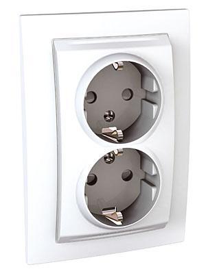 Розетка 2-ая электрическая с заземлением с защитными шторками (в сборе) , Белый, серия Unica, Schneider