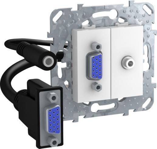 Розетка HD15+Jack 3,5 (разветвительный кабель) , Белый, серия Unica, Schneider Electric