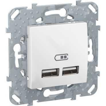 Розетка USB 2-ая 2100 мА (для подзарядки) , Белый, серия Unica, Schneider Electric