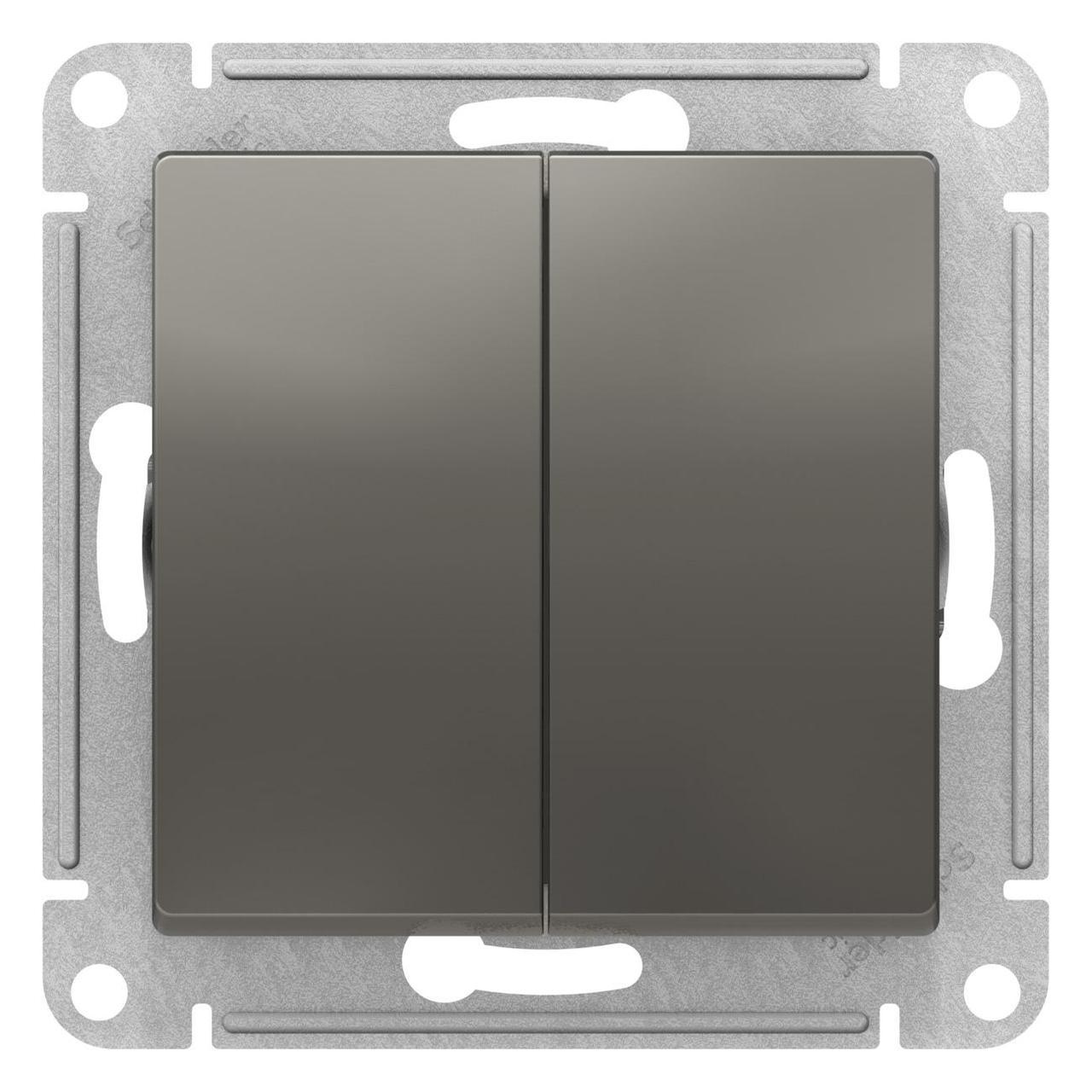 Выключатель 2-клавишный , Сталь, серия Atlas Design, Schneider Electric