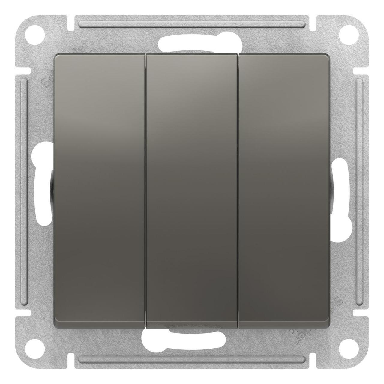 Выключатель 3-клавишный , Сталь, серия Atlas Design, Schneider Electric