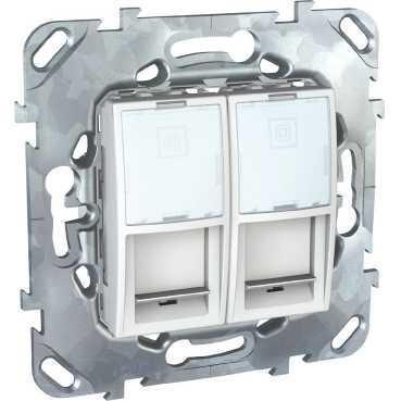 Розетка компьютерная 2-ая кат.6, RJ-45 (интернет) , Белый, серия Unica, Schneider Electric