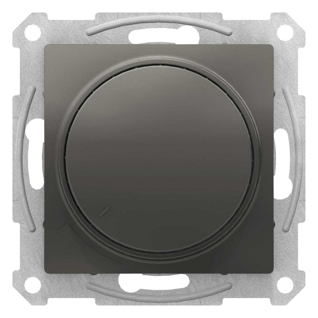 Диммер поворотно-нажимной , 300Вт для ламп накаливания , Сталь, серия Atlas Design, Schneider Electric