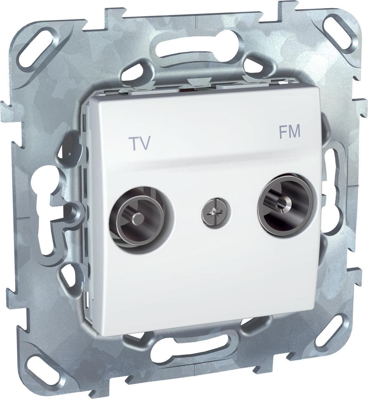 Розетка телевизионная единственная ТV-FМ , Белый, серия Unica, Schneider Electric