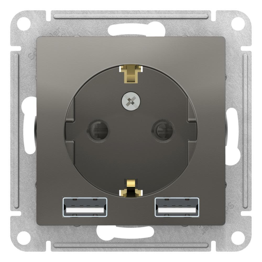 Розетка 1-ая электрическая , с заземлением, c USB , Сталь, серия Atlas Design, Schneider Electric