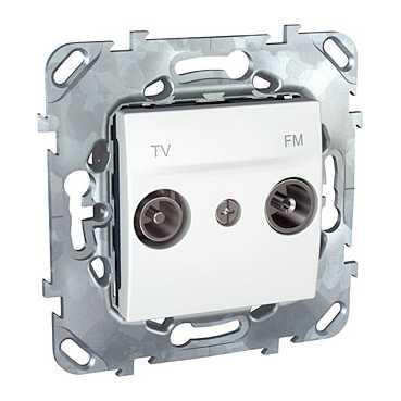 Розетка телевизионная проходная ТV-FМ , Белый, серия Unica, Schneider Electric