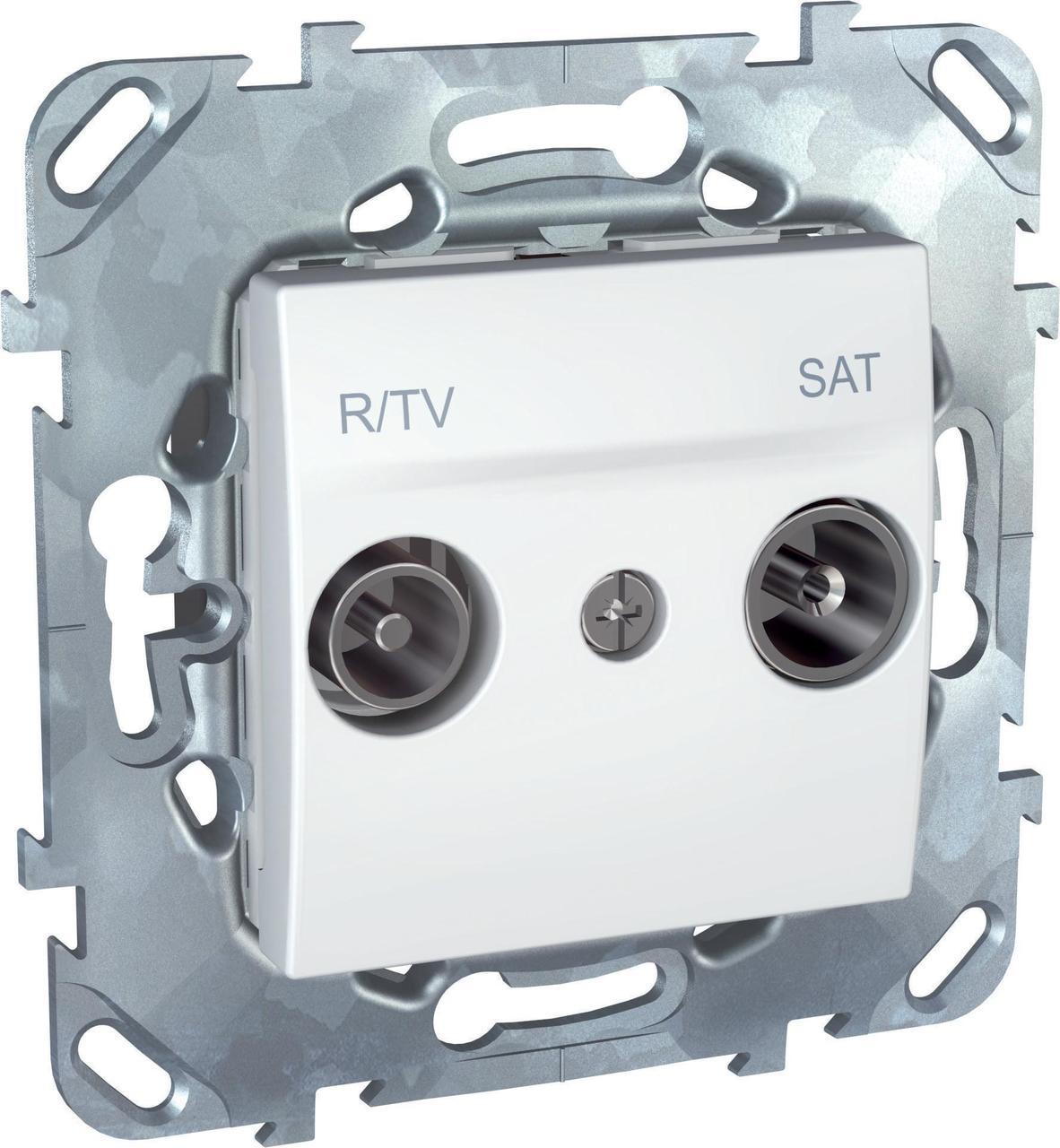 Розетка телевизионная проходная ТV-FМ-SАТ , Белый, серия Unica, Schneider Electric