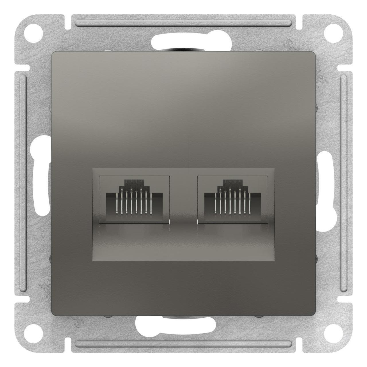 Розетка компьютерная 2-ая кат.5е, RJ-45 (интернет) , Сталь, серия Atlas Design, Schneider Electric