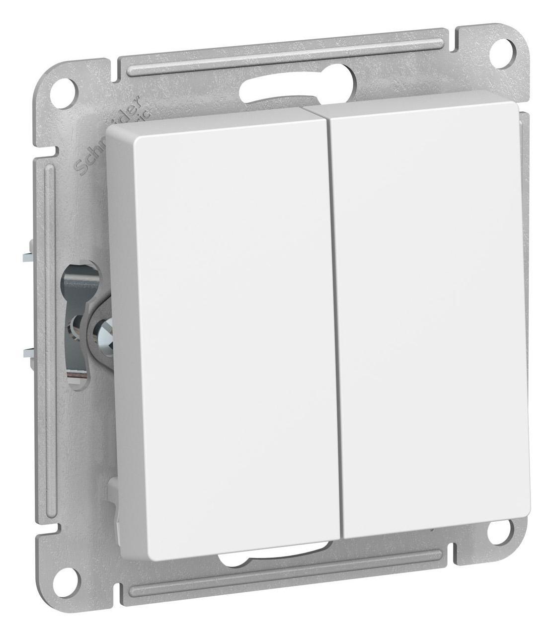 Выключатель 2-клавишный , Белый, серия Atlas Design, Schneider Electric