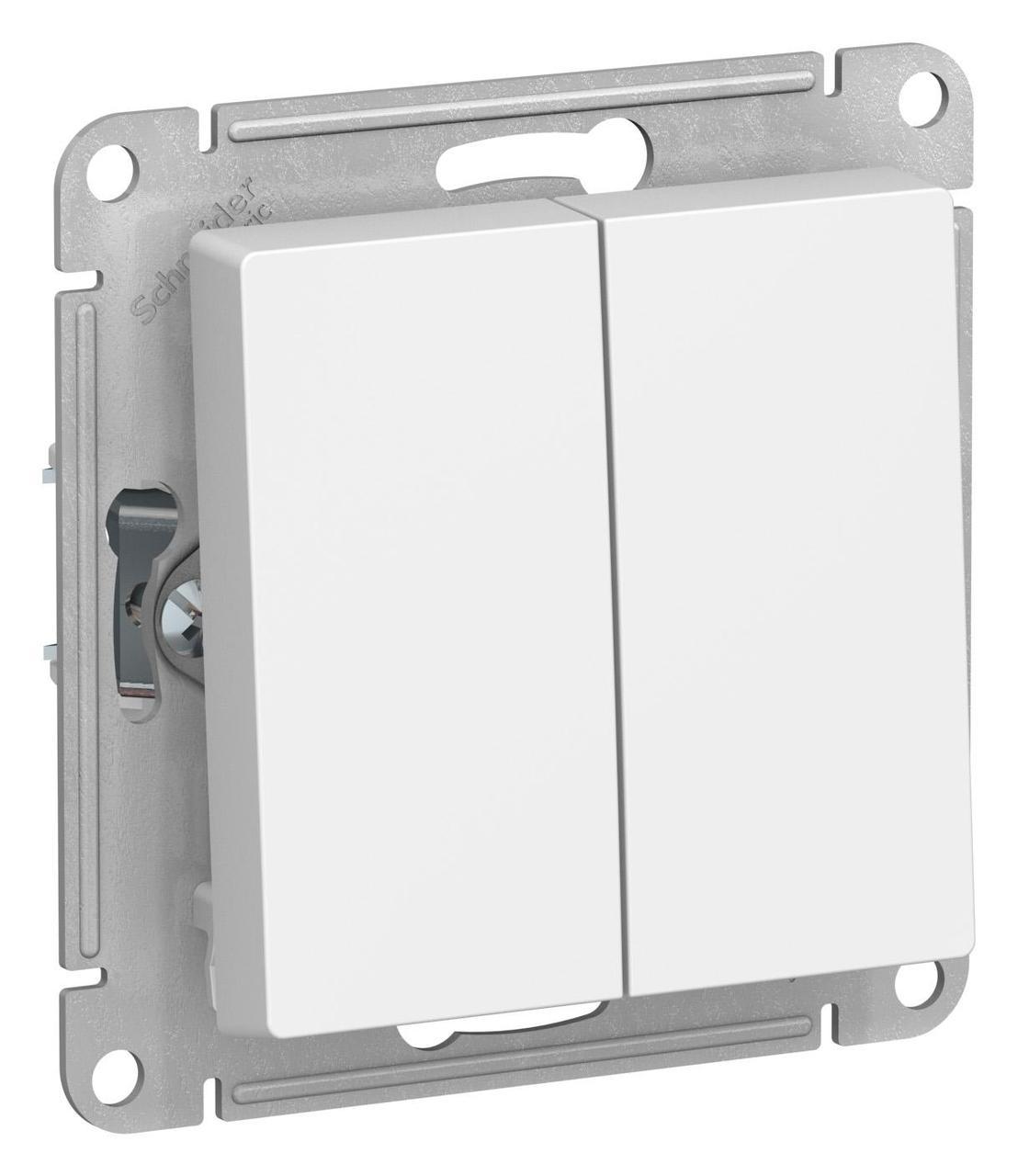 Выключатель 2-клавишный проходной (с двух мест) , Белый, серия Atlas Design, Schneider Electric