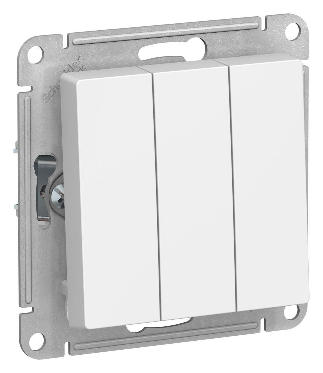 Выключатель 3-клавишный , Белый, серия Atlas Design, Schneider Electric