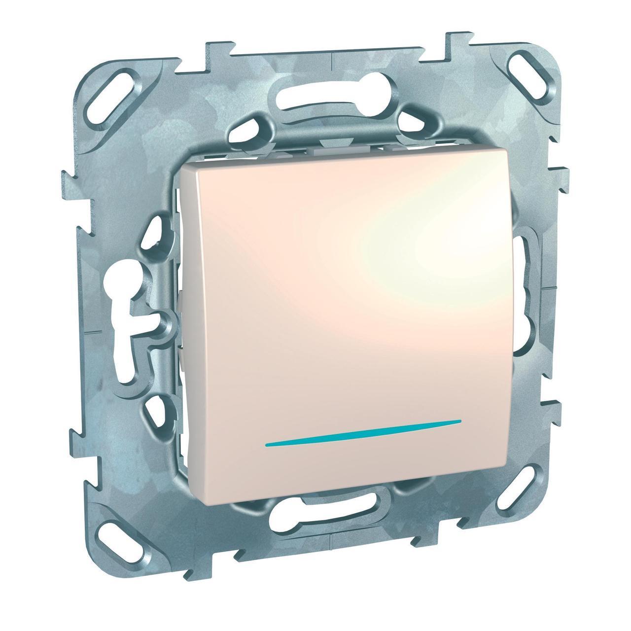 Выключатель 1-клавишный; кнопочный с подсветкой , Бежевый, серия Unica, Schneider Electric