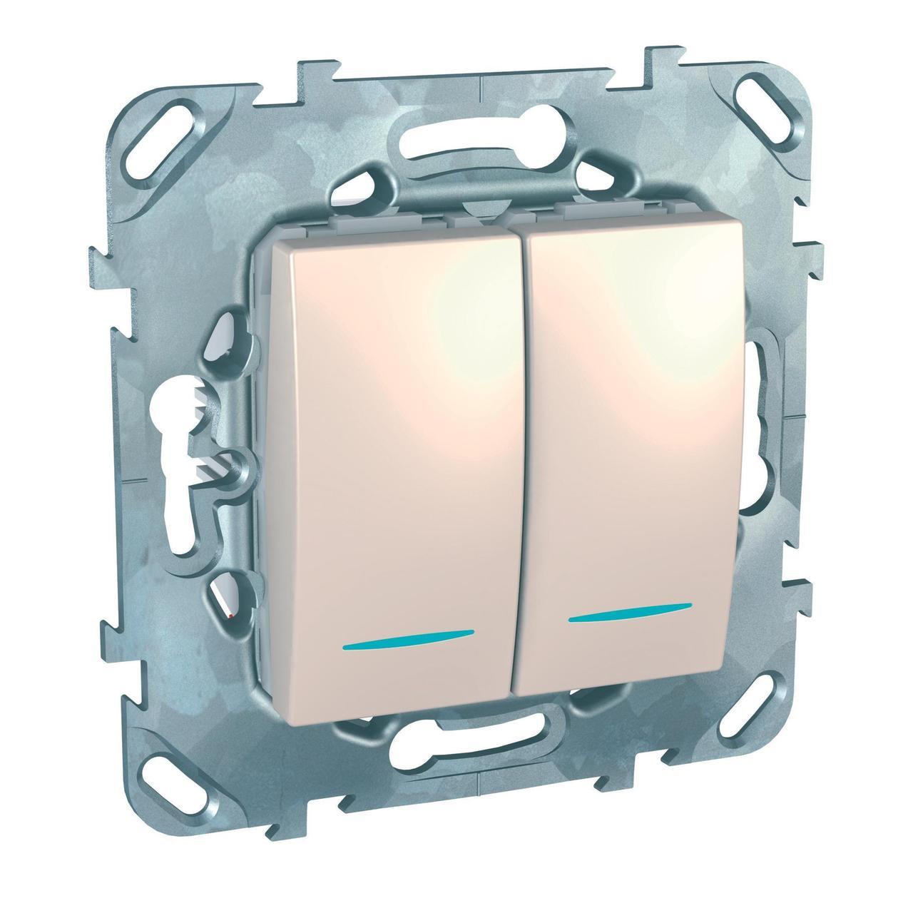 Выключатель 2-клавишный проходной с подсветкой (с двух мест) , Бежевый, серия Unica, Schneider Electric