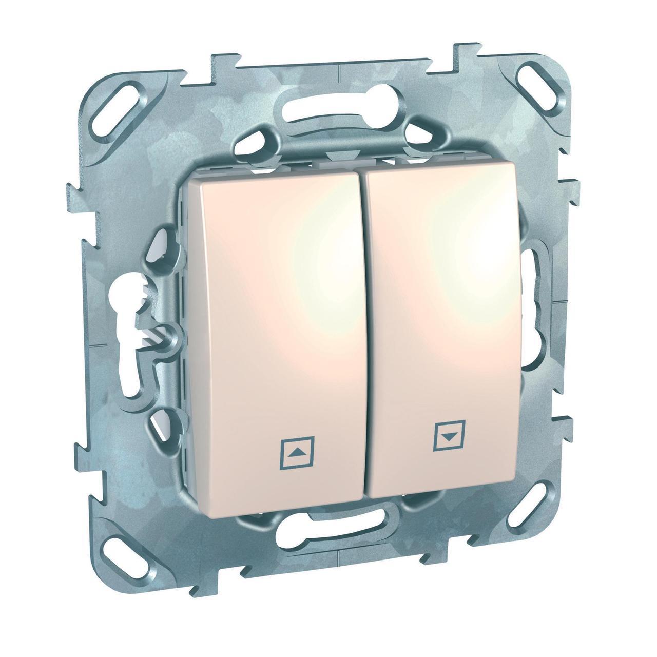 Выключатель для жалюзи (рольставней) кнопочный , Бежевый, серия Unica, Schneider Electric